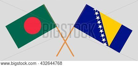 Crossed Flags Of Bosnia And Herzegovina And Bangladesh