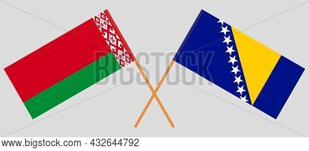 Crossed Flags Of Bosnia And Herzegovina And Belarus