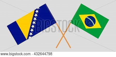 Crossed Flags Of Bosnia And Herzegovina And Brazil