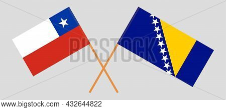 Crossed Flags Of Bosnia And Herzegovina And Chile