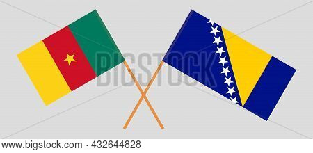 Crossed Flags Of Cameroon And Bosnia And Herzegovina