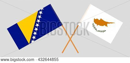 Crossed Flags Of Bosnia And Herzegovina And Cyprus