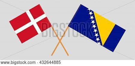 Crossed Flags Of Bosnia And Herzegovina And Denmark