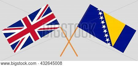 Crossed Flags Of The Uk And Bosnia And Herzegovina