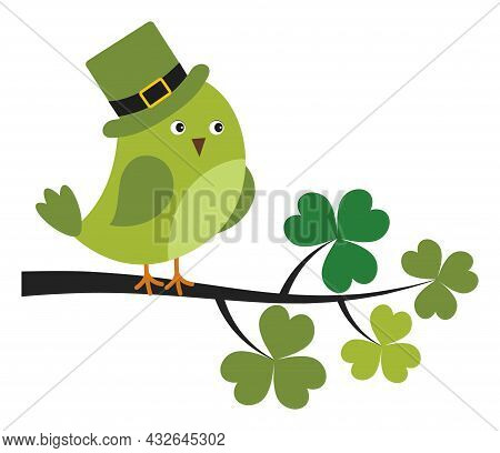 Cute Green Bird Wearing St. Patrick Hat Sitting On Shamrock Branch. Vector St. Patrick. St. Patrick