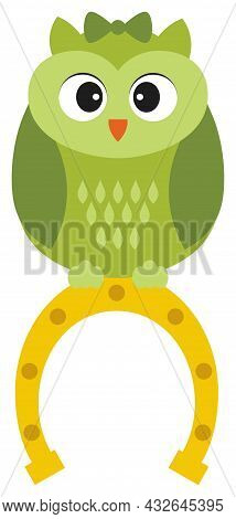 Cute Green St. Patrick Owl With Bow Sitting On The Top Of Horseshoe. Vector St. Patrick. Owl Vector