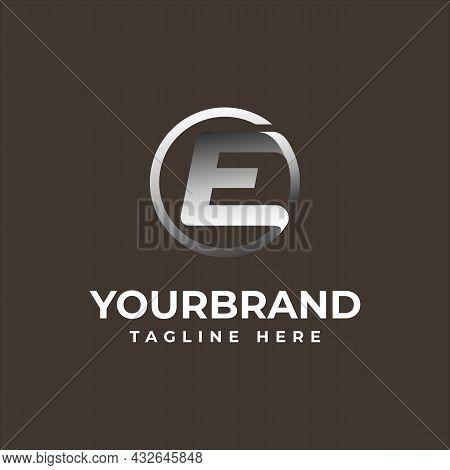 Letter E Circle Logo Elegant Silver Chrome Black Background With Vector Illustration