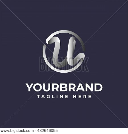 Chrome U Letter Initial Logo Template With Vector Illustration