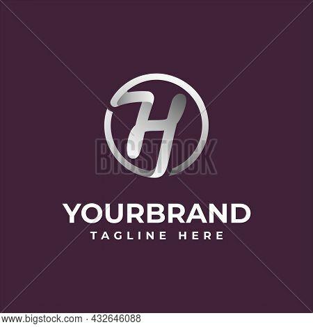 Modern Chrome H Letter Initial Logo Template