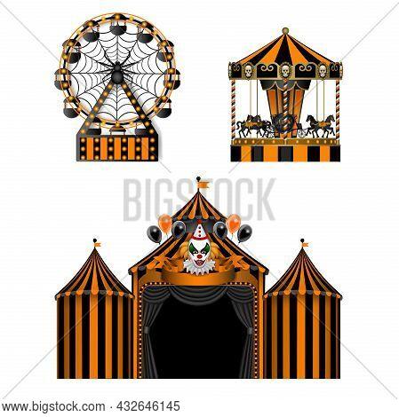 Halloween Luna Park Elements. Horror Amusement Park. Isolated Circus, Carousel And Ferris Wheel