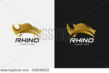 Golden Rhinoceros With Modern Shape Logo Design. Graphic Design Element.