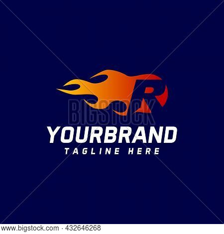 Letter R With Flames. Letter Vector Design Template Elements For Your Application Or Corporate Ident