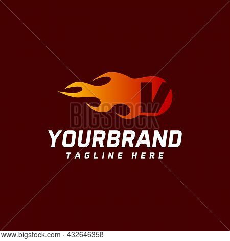 Fire V Letter Logo. Isolated On A Maroon Background, Vector Illustration