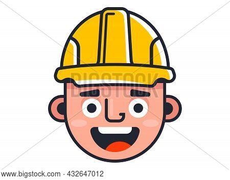 Builder In A Yellow Helmet. Cute Character Builder. Flat Vector Illustration