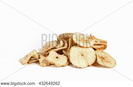 Dry Apple Chips Isolated On White Background. Dehydrated Food. A Bunch Of Apple Chips. Diet Healthy