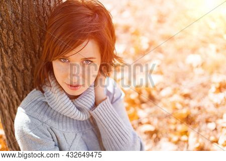 A Young Woman In A Gray Sweater Sits Alone, Leaning Against A Tree On A Beautiful Day In The Park. G