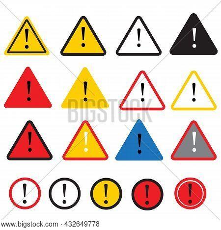 Danger Warning Attention Icon On White Background. Danger Sign. Warning Symbol. Attention Logo. Flat