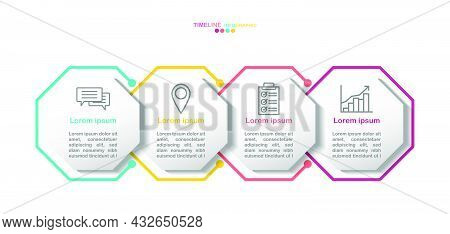 4 Octagon Timeline Infographic Template.4 Color And Business Icons.