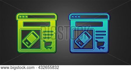 Green And Blue Online Shopping On Screen Icon Isolated On Black Background. Concept E-commerce, E-bu