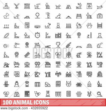100 Animal Icons Set. Outline Illustration Of 100 Animal Icons Vector Set Isolated On White Backgrou