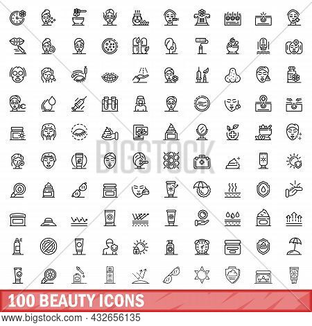 100 Beauty Icons Set. Outline Illustration Of 100 Beauty Icons Vector Set Isolated On White Backgrou