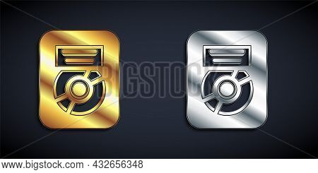 Gold And Silver Cd Disk Award In Frame Icon Isolated On Black Background. Modern Ceremony. Best Sell