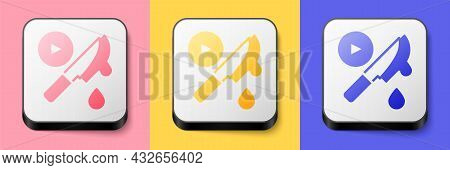 Isometric Thriller Movie Icon Isolated On Pink, Yellow And Blue Background. Bloody Knife. Suspensefu