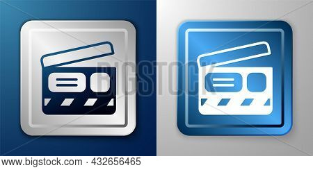 White Movie Clapper Icon Isolated On Blue And Grey Background. Film Clapper Board. Clapperboard Sign