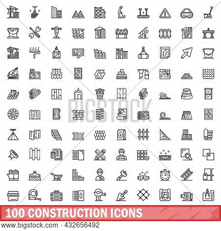 100 Construction Icons Set. Outline Illustration Of 100 Construction Icons Vector Set Isolated On Wh