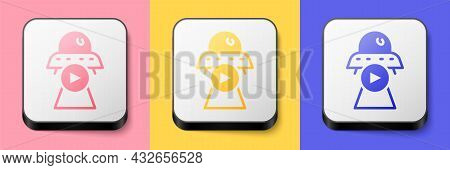 Isometric Science Fiction Icon Isolated On Pink, Yellow And Blue Background. Sci Fi Movies, Popular