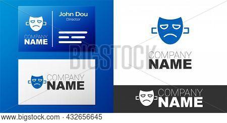 Logotype Drama Theatrical Mask Icon Isolated On White Background. Logo Design Template Element. Vect