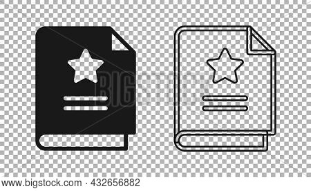 Black Scenario Icon Isolated On Transparent Background. Script Reading Concept For Art Project, Film