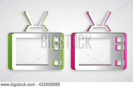 Paper Cut Retro Tv Icon Isolated On Grey Background. Television Sign. Paper Art Style. Vector