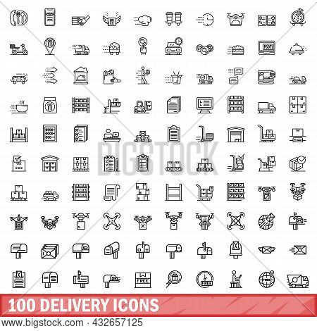 100 Delivery Icons Set. Outline Illustration Of 100 Delivery Icons Vector Set Isolated On White Back