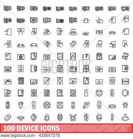 100 Device Icons Set. Outline Illustration Of 100 Device Icons Vector Set Isolated On White Backgrou