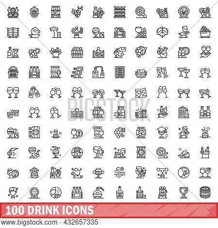 100 Drink Icons Set. Outline Illustration Of 100 Drink Icons Vector Set Isolated On White Background