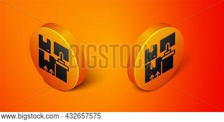 Isometric Warehouse Interior With Boxes On Racks Icon Isolated On Orange Background. Logistics, Carg