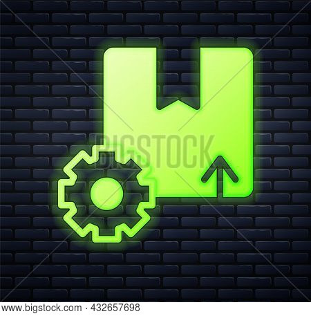 Glowing Neon Gear Wheel With Package Box Icon Isolated On Brick Wall Background. Box, Package, Parce
