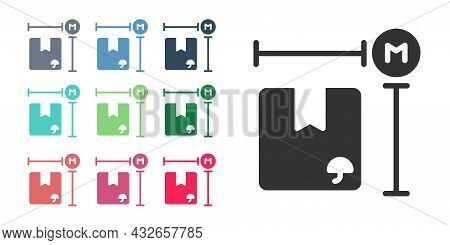 Black Carton Cardboard Box Measurement Icon Isolated On White Background. Box, Package, Parcel Sign.