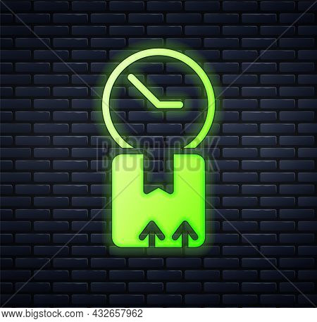 Glowing Neon Carton Cardboard Box And Fast Time Delivery Icon Isolated On Brick Wall Background. Box