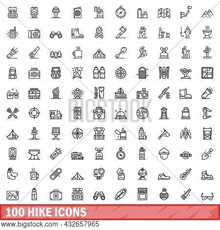 100 Hike Icons Set. Outline Illustration Of 100 Hike Icons Vector Set Isolated On White Background