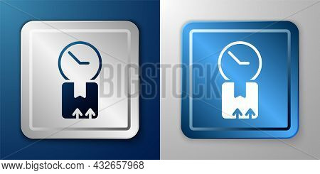 White Carton Cardboard Box And Fast Time Delivery Icon Isolated On Blue And Grey Background. Box, Pa