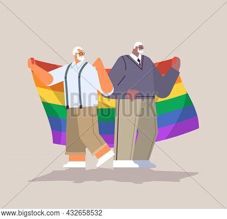 Two Senior Men Holding Lgbt Rainbow Flag Gay Lesbian Love Parade Pride Festival Transgender Love Con