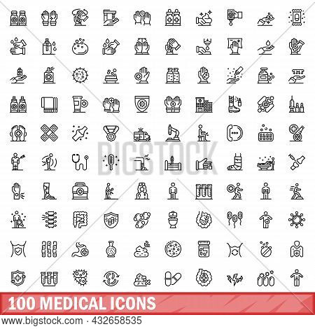 100 Medical Icons Set. Outline Illustration Of 100 Medical Icons Vector Set Isolated On White Backgr