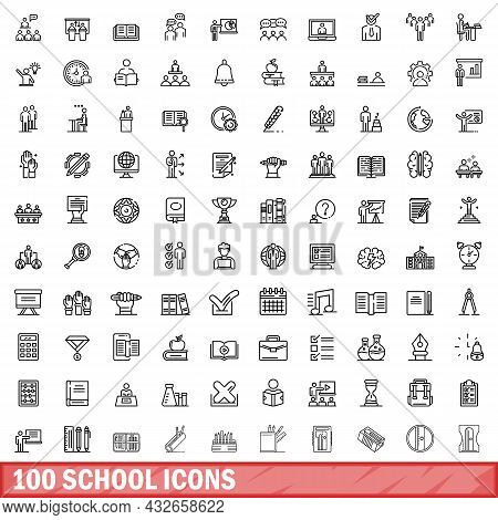 100 School Icons Set. Outline Illustration Of 100 School Icons Vector Set Isolated On White Backgrou