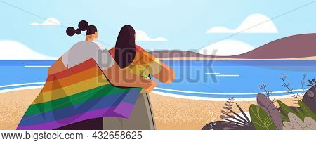 Two Girls Holding Lgbt Rainbow Flag Gay Lesbian Love Parade Pride Festival Transgender Love Concept