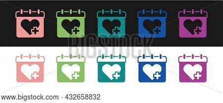 Set Doctor Appointment Icon Isolated On Black And White Background. Calendar, Planning Board, Agenda