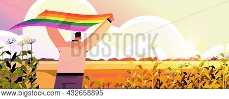 Man Holding Lgbt Rainbow Flag Gay Lesbian Love Parade Pride Festival Transgender Love Concept