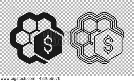 Black Sale Of Honeycomb Icon Isolated On Transparent Background. Honey Cells Symbol. Sweet Natural F