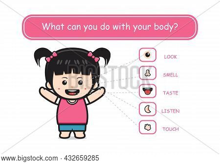Five Senses Template With Cute Boy Human Organs Cartoon Icon Illustration Design Flat Cartoon Style